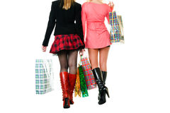 Two young women at shopping Royalty Free Stock Photo