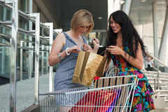 Two young women with shopping cart. Stock Photography