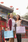 Two Young Women Shopping Outdoors Stock Image