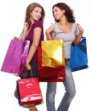 Two young women with shoppping bags. Stock Photo