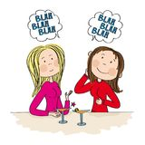 Two young women sitting in the bar, drinking cocktail and chatting. Gossiping. Original hand drawn illustration Royalty Free Stock Images