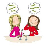 Two young women sitting in the bar, drinking cocktail and chatting. Gossiping. Original hand drawn illustration Stock Photo