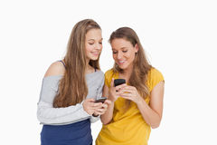 Two young women smiling while looking their cellphones. Against white background Royalty Free Stock Photography