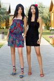 Young women standing on the walkway Royalty Free Stock Photography