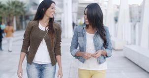Two young women strolling down a promenade stock video footage