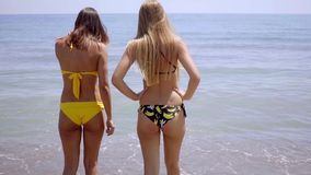 Two young women in swimsuits standing in the sea stock video footage