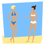 Two young women in swimsuits Royalty Free Stock Photography