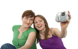 Two young women taking a self-portrait Stock Image