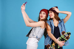 Two young women taking selfie Royalty Free Stock Photo