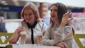 Two young women talking and drinking coffee sitting in cafe. Conversation in cafe stock footage