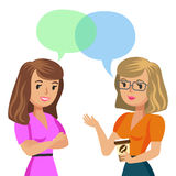 Two young women talking. Meeting colleagues or friends. Vector royalty free illustration