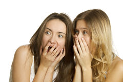 Two young women terrified and screaming Stock Photography