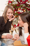 Two young women toasting with Champagne Royalty Free Stock Photography