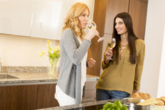 Two young women toasting with white wine in modern kitchen Stock Photography