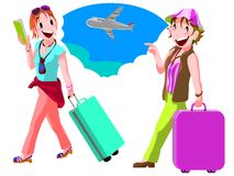 Two young women traveling Royalty Free Stock Photo