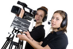 Two young women with a video camera Stock Photo