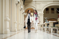 Two young women walking with shopping at the store. Two young brunette girls walking with shopping at the store Royalty Free Stock Photos