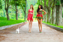Two young women walking in the summer city Royalty Free Stock Photo