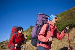 Two young women went camping. Royalty Free Stock Photography