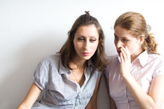 Two young women whispering. Two young working whispering on isolated background Royalty Free Stock Image