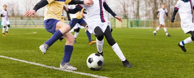 Junior football match. Boys Boys playing soccer match on professional pitch. Two youth footballers running the ball. Junior football match. Boys Boys playing Royalty Free Stock Image