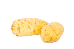 Two Yukon Gold Potatoes Isolated on White Stock Photos