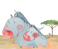 Two zebras in savanna. Watercolor illustration  on white background Stock Photo