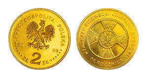 Two zloties anniversary coin Royalty Free Stock Photography