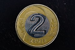 Two zloty coins Royalty Free Stock Photo
