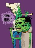 Two zombie musicians play on the trumpet and sing. A beautiful poster or drawing on a T-shirt. royalty free illustration
