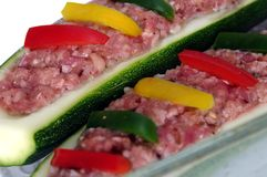 Two zucchini and meat stuffing Stock Image