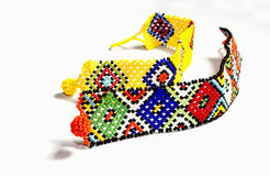 Two Zulu Beaded Bracelets in Bright Colors Royalty Free Stock Image