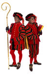 Two zwarte pieten (black pete). Zwarte piet ( black pete)  with book . typical Dutch character part of a traditional event celebrating the birthday of Stock Photos