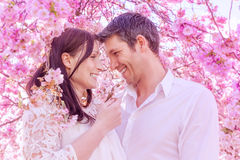 Twogether. Floral springtime feelings boy and girl Royalty Free Stock Photos