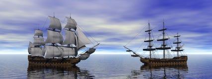 Twon boats merchants Stock Image