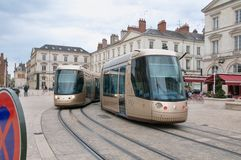 Twoo tram Alstrom  in  Orleans Stock Photos