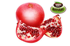 Twopomegranate/path. Section of pomegranate. Clipping path Stock Photo