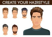 Tworzy, zmienia, fryzury Mężczyzna włosianego stylu symbolu modnisia broda, wąsów mężczyzna eleganccy, nowożytna również zwrócić  Zdjęcia Stock