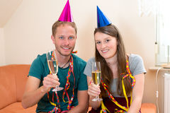Twosome making a party Royalty Free Stock Image
