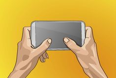 Twot Hand Handle Mobile. Vector illustration - Beautiful Left&Right hands Handle on a smart phone in outline version Stock Photo