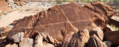 Twyfelfontein. A site of ancient rock engravings in the Kunene Region Royalty Free Stock Images