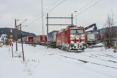 TXL 185 404-1 con transito del treno merci in Halden Fotografia Stock Libera da Diritti