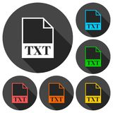 TXT file icons set with long shadow. Vector icon Stock Image