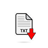 TXT file with red arrow download button on white background Stock Photo
