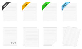 .txt Text icon set. Several icons representing the .txt text file format Royalty Free Stock Photos