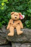Ty童帽婴孩绒毛与心脏标记的熊 图库摄影
