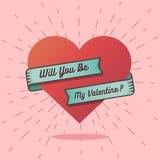 Ty będziesz mój valentine tekstem z dużym sercem Zdjęcie Royalty Free