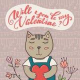 Ty będziesz mój walentynki kartka z pozdrowieniami, kot Fotografia Stock