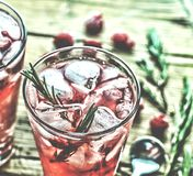 Domestic cocktail with ice and rosemary. Fruity cocktail drink decorated with frozen or fresh raspberry, strawberry, rosemary, ice. Ty cocktail drink decorated Royalty Free Stock Photography