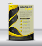 Żółty i czarny broszurki ulotki szablon, gazetka projekt, liść Obraz Royalty Free